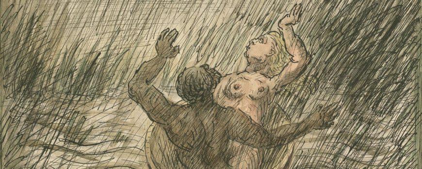 Alfred Kubin_Gegen den Strom Alfred Kubin, Gegen den Strom, um 1940, Aquarell, Tusche auf Katasterpapier © Eberhard Spangenberg, München / Bildrecht, Wien, 2018