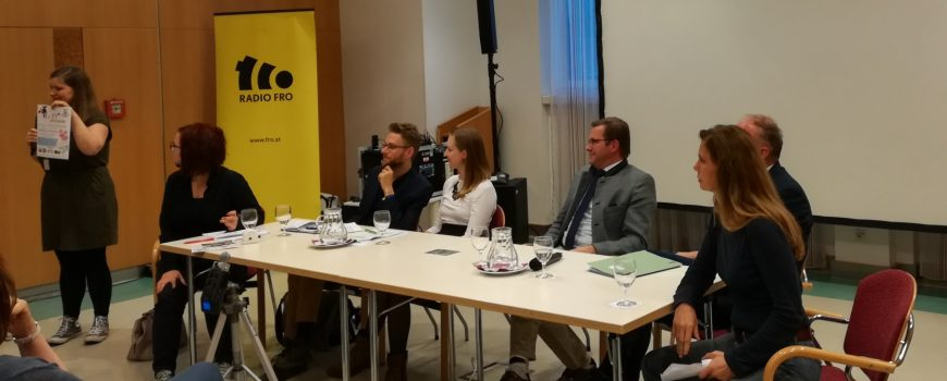 Tierschutzvolksbegehren Podiumsdiskussion Sarah Wiener, Franz Graf, Georg Ecker, Nina Andree, Stefan Schobesberger, Victoria Windtner