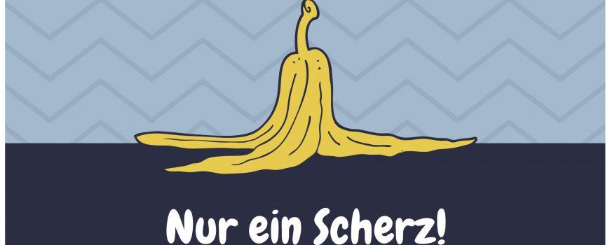 Blau Gelb Bananenschale Aprilscherzkarte