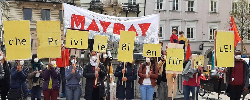 """mayday-linz-2021 Kundgebung von """"Mayday"""" am Linzer Hauptplatz"""