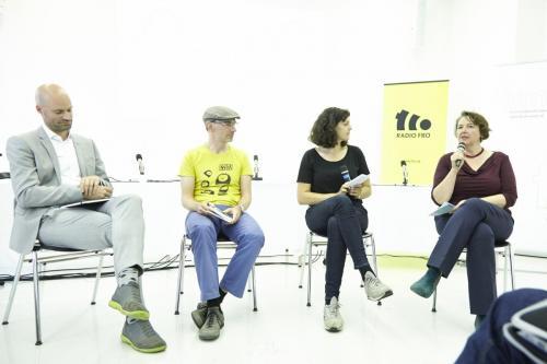 Markus Kienast (ZIGE.TV), René Schuster (Radio Helsinki), Victoria Schuster (KUPF), Sigrid Ecker (Radio FRO) IMG 4389